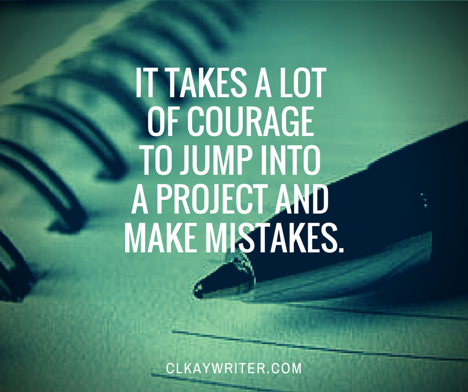 clkaywriter.com Courage Quote by C. L. Kay Pen And Notebook Green Tint