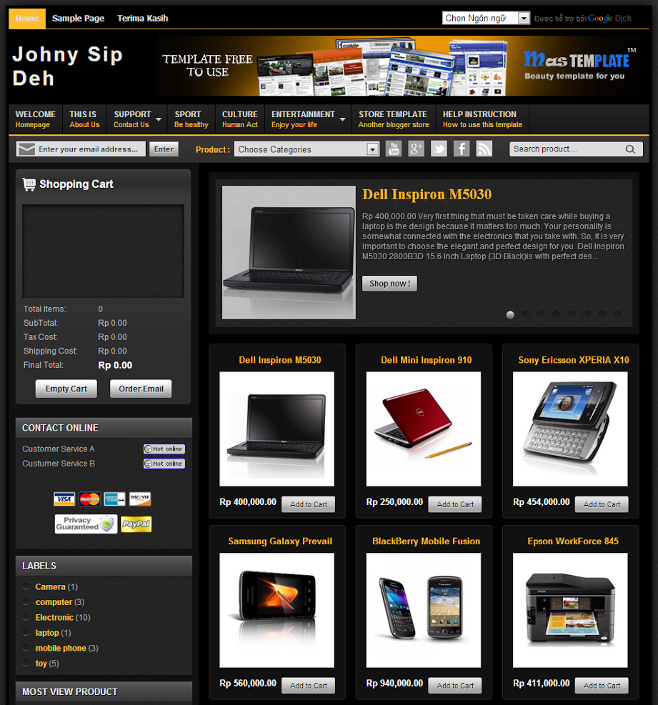 Johny Sip Deh Shop Template Blogspot