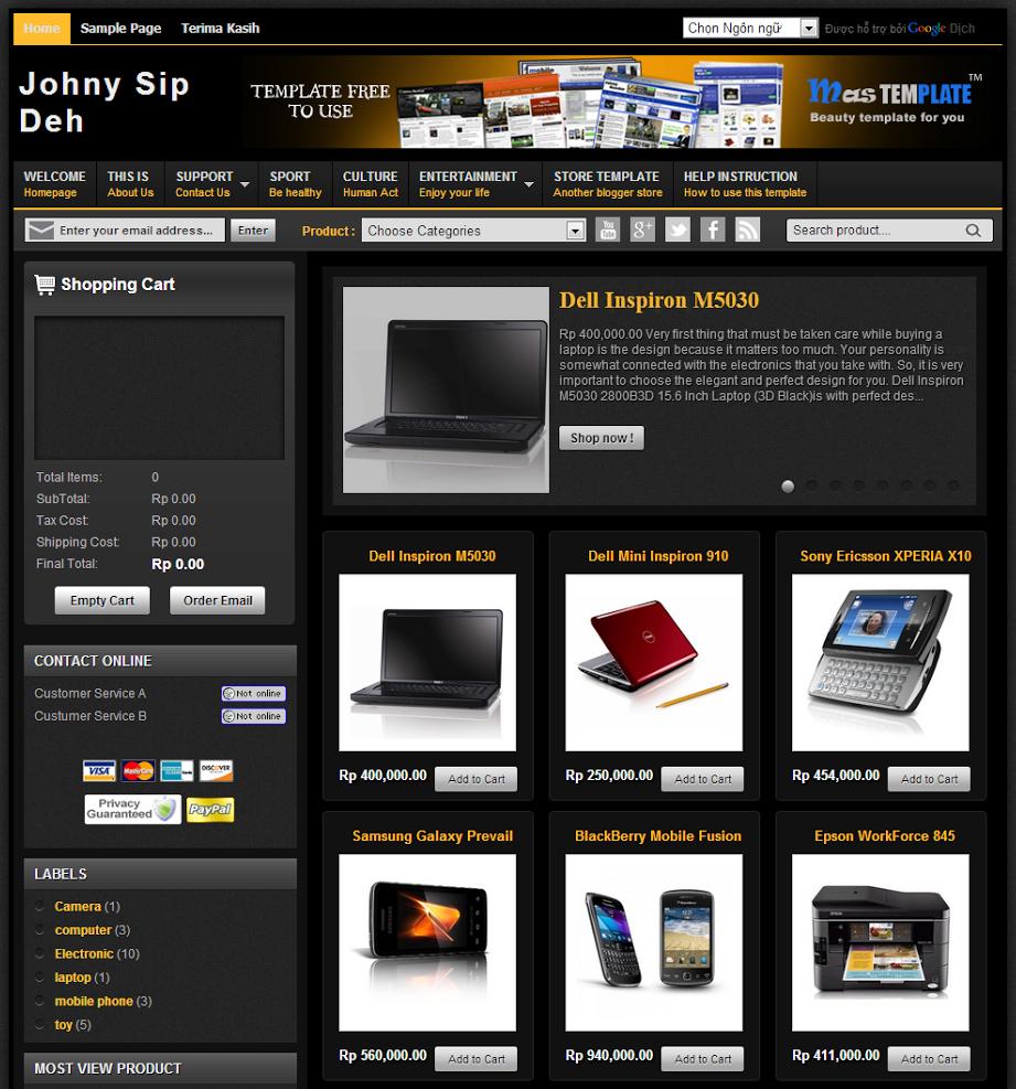 Johny Sip Deh Shop Template Blogspot