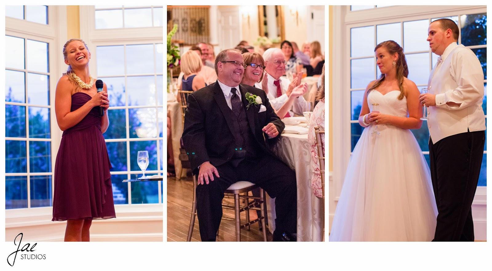 Jonathan and Julie, Bird cage, West Manor Estate, Wedding, Lynchburg, Virginia, Jae Studios, purple, wedding dress, tuxedo, father mother, bride, groom, maid of honor, speech, pearl, drink, window, laughing, funny