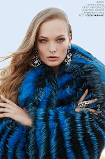 blue fur, vogue russia, egle jezepcikaite model, fashion photographer nyc, vogue fashion