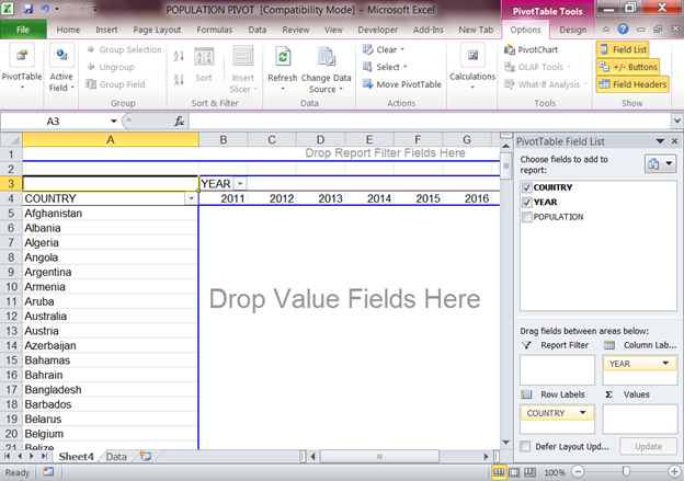 how to create a pivot table in excel 2010 count