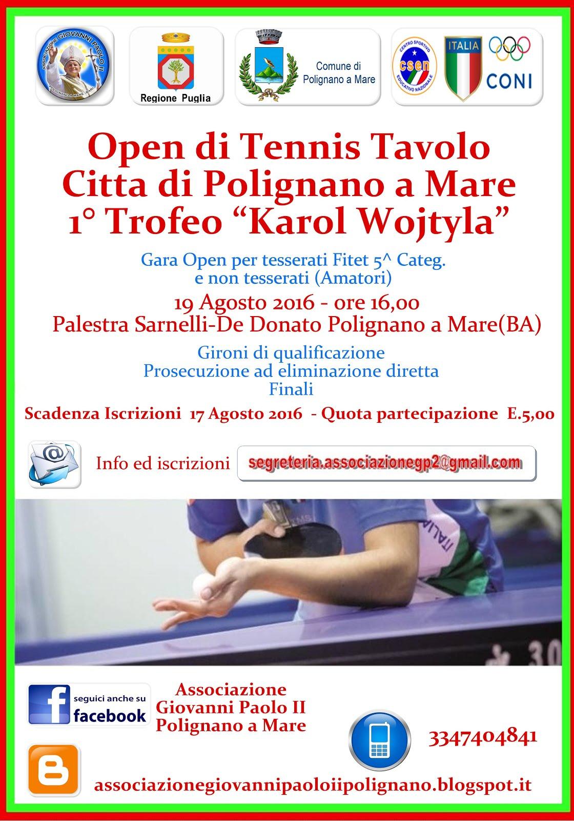 """4° Open di Tennis Tavolo """"Città di Polignano a Mare"""" -"""