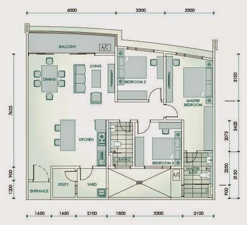 Floor plan feng shui crystal residence cyberjaya for Good feng shui house floor plan