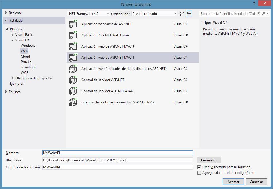areaTIC, ASP.NET MVC 4.0, Menú Proyecto Visual Studio