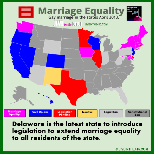 The statte of gay marriage in the USA - marriage equality map April 2013