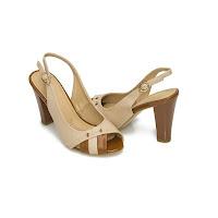 Sandale cu toc Modlet, camel, din colectia Shiny (modlet)