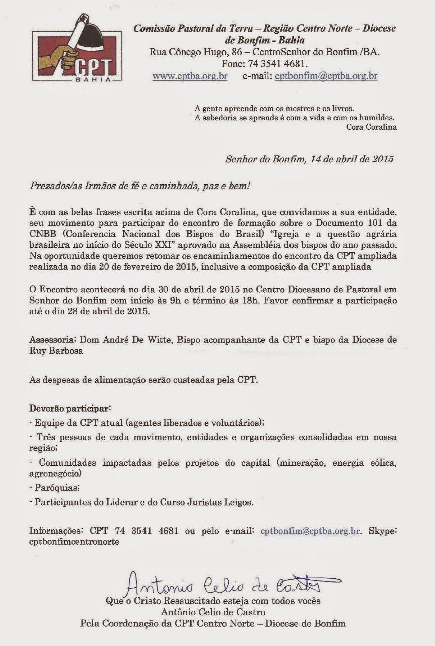 CONVITE DA CPT DA DIOCESE DE BONFIM!