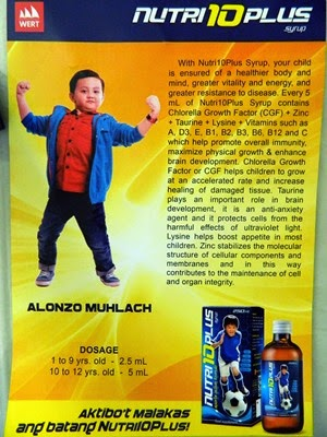 Alonzo Muhlach, Nutri 10 Plus vitamins