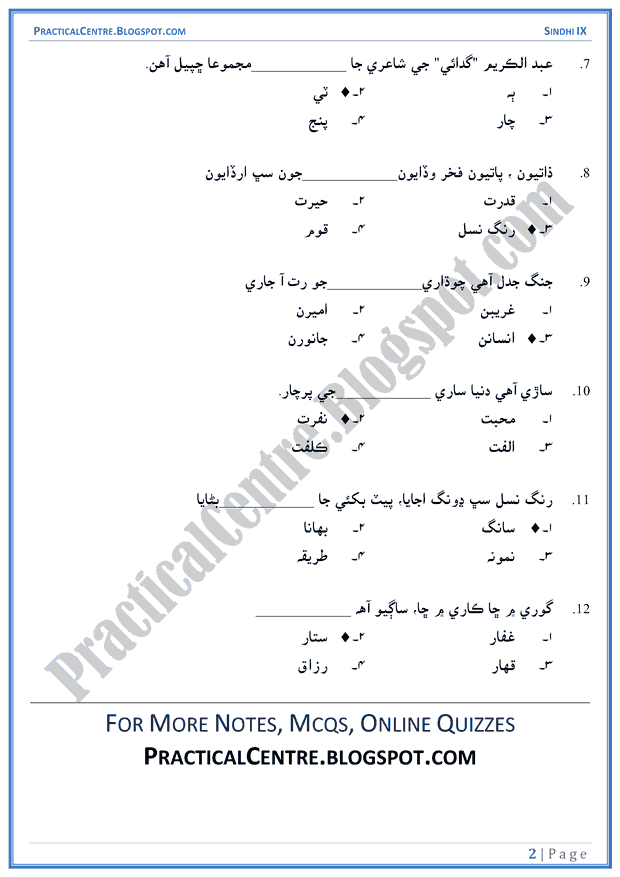 banayen-sukh-ka-koi-sansar-multiple-choice-questions-sindhi-notes-ix