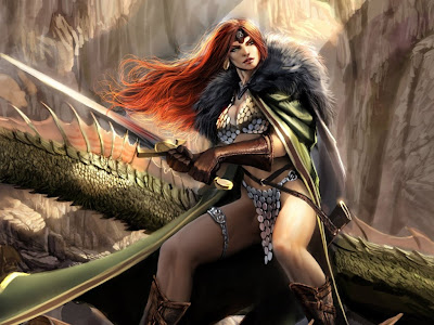 red headed female viking warrior sword and dragon