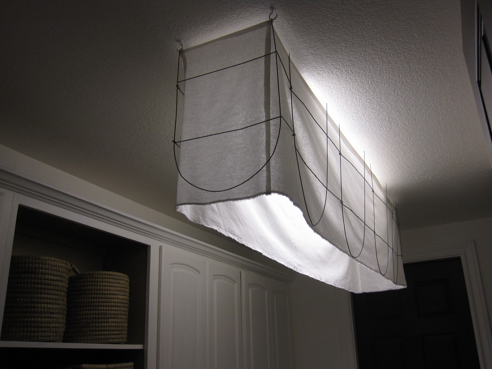 The decorating duchess how to make a shade for a fluorescent fabric and metal shade to cover an ugly light fixture arubaitofo Images