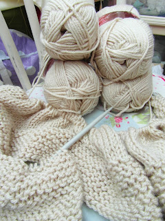 Hand knitted snuggly blanket in progress made By Laura Ann