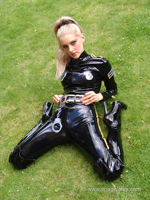 Latex Catsuit and Heels for Blonde Vicki