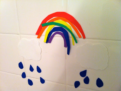 Use foam sheets to make shapes that stick to your kid's bathtub. Endless possibilities! Make roads and cars, or monsters that you can place your own arms, eyes and ears. If you have older kids make words for practicing sentences, family member names, garden scenes, lego looking blocks to build towers and landscapes... www.thebrighterwriter.blogspot.com
