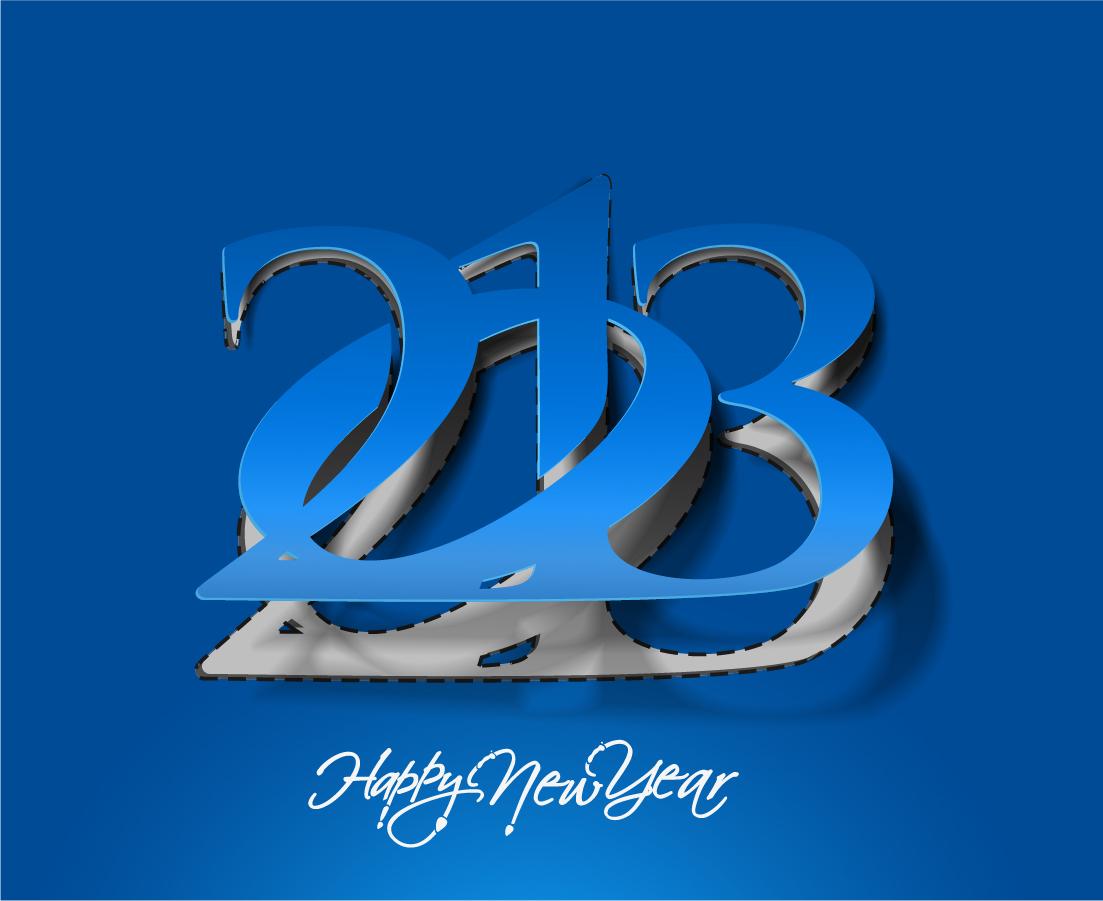 モダンな新年のタイポグラフィ modern 2013 New Year trendy typography イラスト素材2
