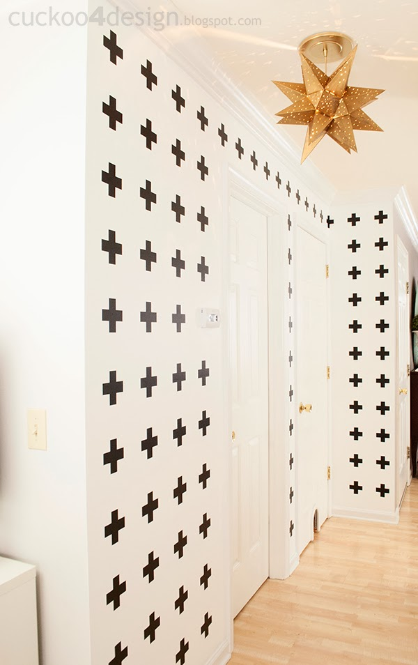 black and white cross wall treatment with wall vinyl inspired by Pia Wallen Crux blanket