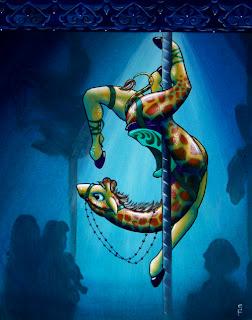 Carousel Giraffe acrylic painting