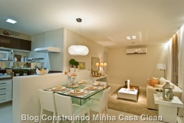 Sala De Jantar Pequena Com Janela ~ 17 Sala pequena integrada com a mesa encostada na bancada americana