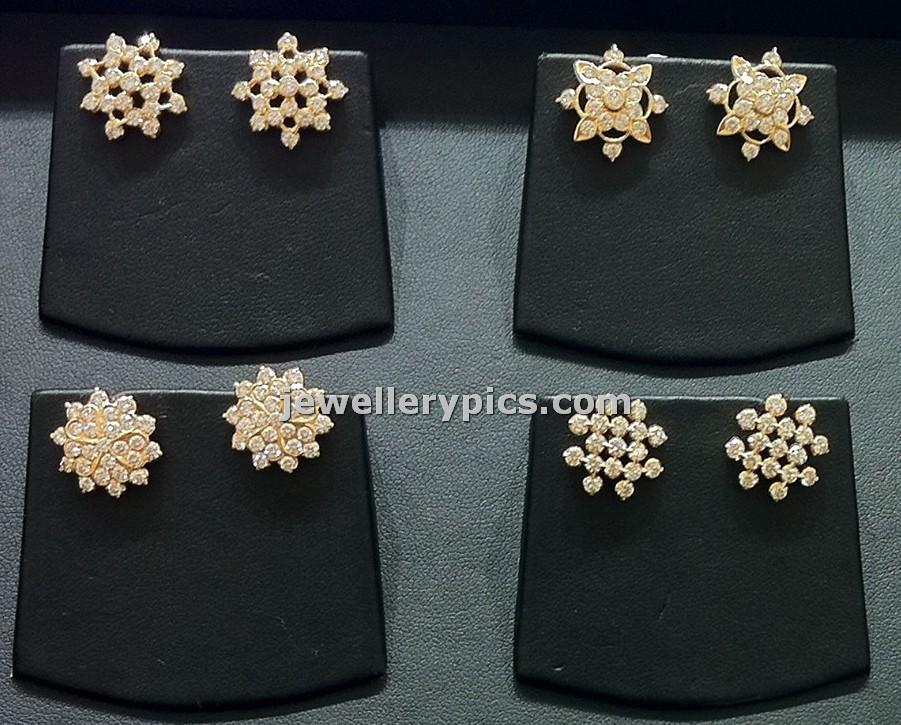 Diamond Ear tops | studs designs in Nalli - Latest Jewellery Designs