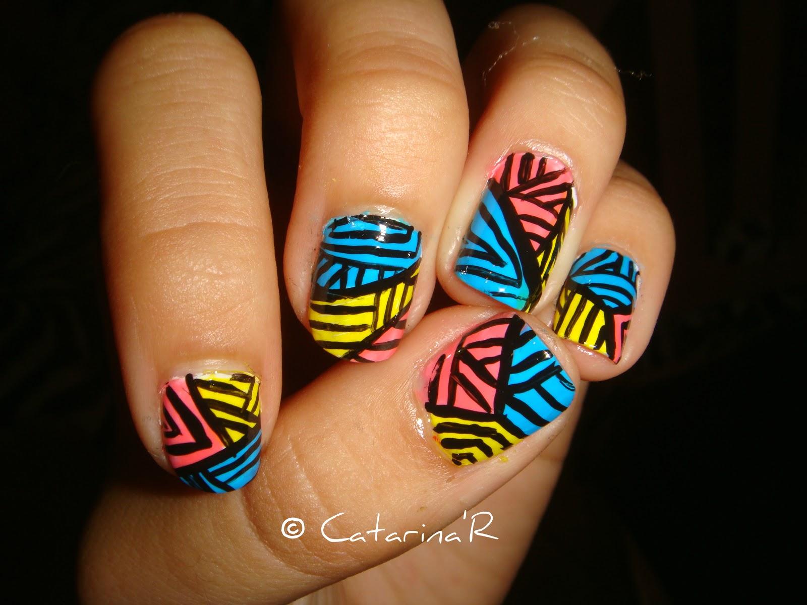Neon abstract summer nails