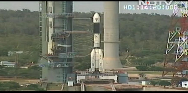 GSLV rocket minutes before the launch. Credit: NDTV