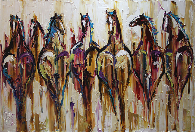 Contemporary Painters 2014 palette knife painters: rustic herd, contemporary horse paintings