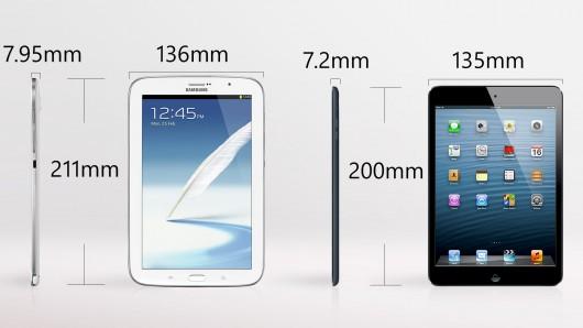 Samsung galaxy note 8 vs. Apple iPad mini size