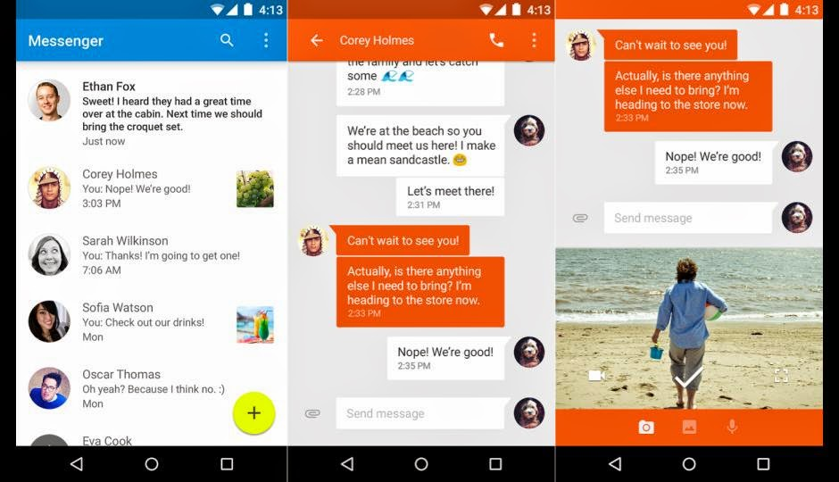 Google Releases Messenger for Android, Google launches Messenger app, Download Google messenger, features of google messenger, free download Google Messenger, hack Google messenger accounts, Messenger supports devices running Android 4.1, Jelly Bean