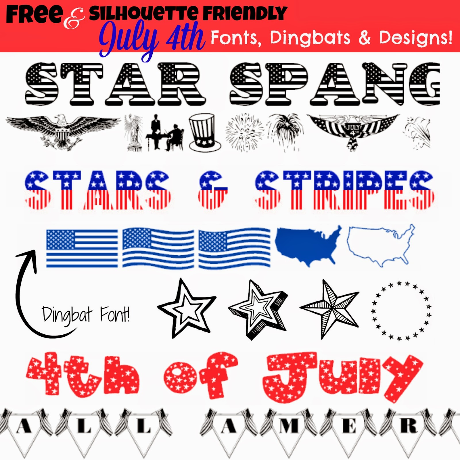 8 FREE (Silhouette Friendly) July 4th Fonts, Dingbats