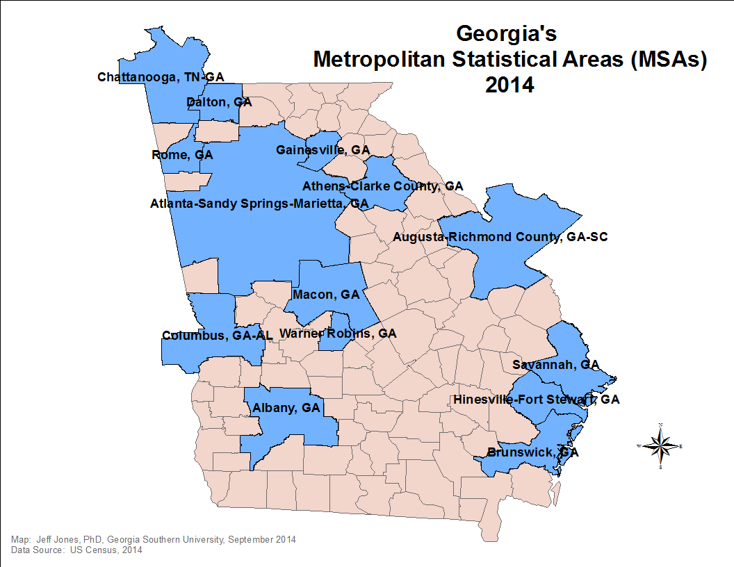 this map is a little rough i need to clean up some of the borders here though is a map showing the peach state s msas a metropolitan statistical area is