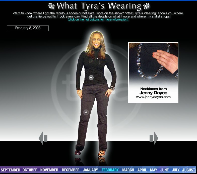 Tyra Banks wearing a Jenny Dayco necklace