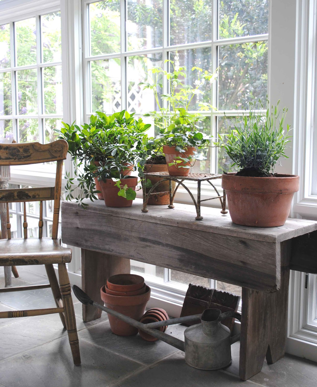 Swedish Cottage Style Adorable Of Early American painted chair next to primitive bench with potted herbs  Photos