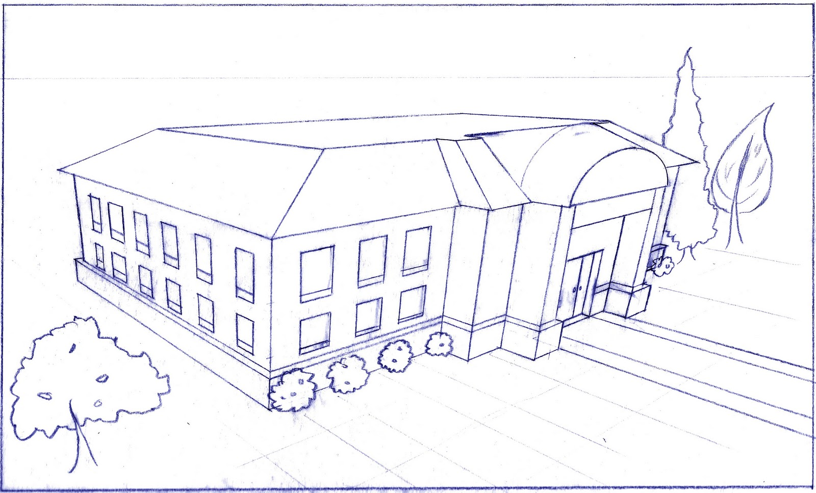 Art by bri e leahy perspective drawing adventure for Exterior 1 point perspective