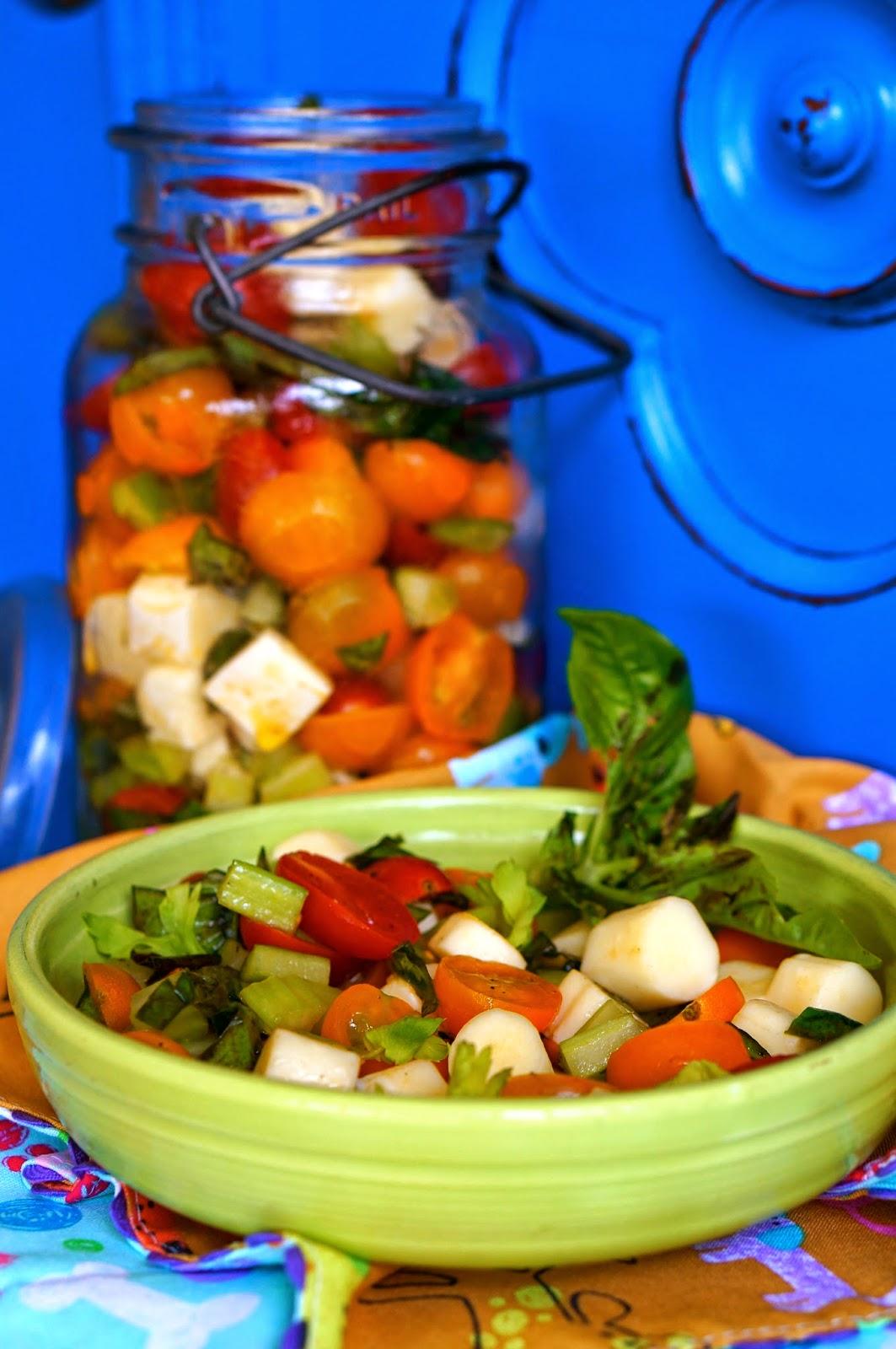 Tomatoes, Mozzarella, Celery, Basil, Olive Oil, Red Wine Vinegar, Picnic,