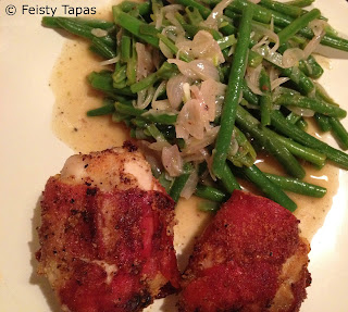 Prosciutto/parma/serrano wrapped chicken with green beans fried in shallots