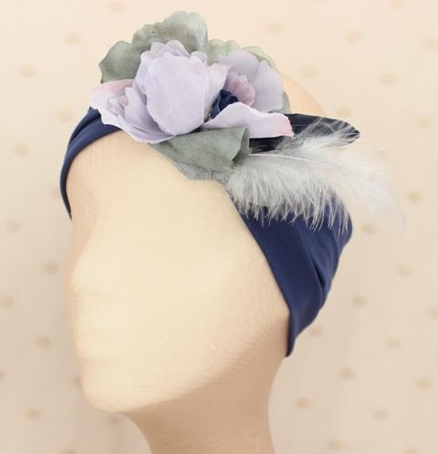 Colección Buceando - Banda elastica ancha flor lila