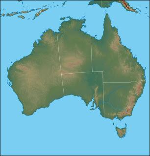 Dilsiz Avustralya K�tas� Fiziki Haritas�