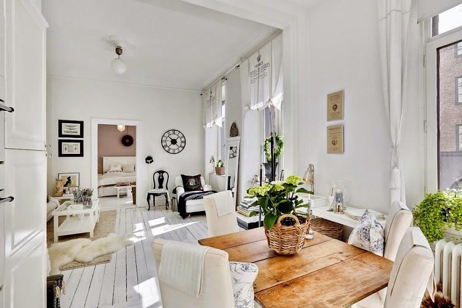 Interior apartamento en r stico chic afrancesado - Decoracion rustico chic ...