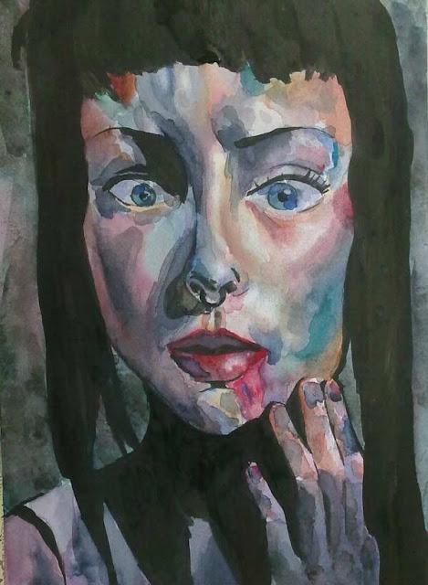 retrato de acuarela y tinta