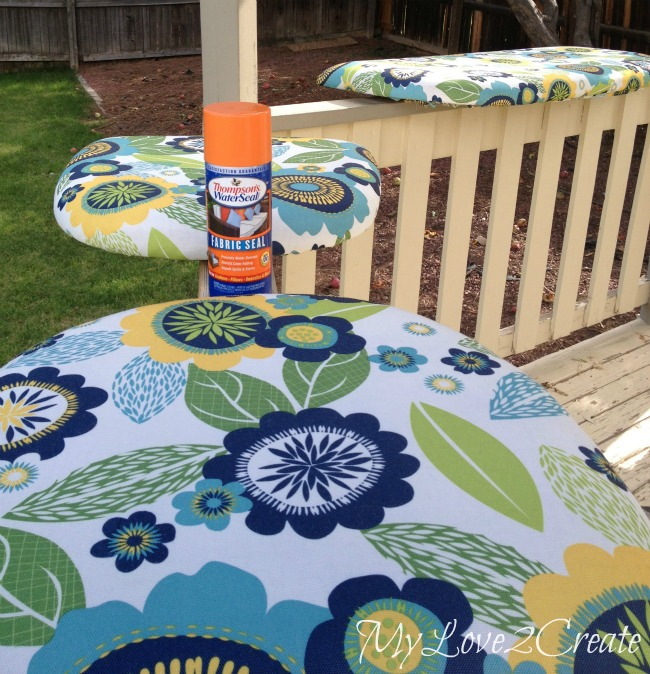 MyLove2Create, Wicker Furniture Makeover, adding Thompson's water seal fabric seal