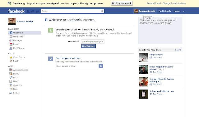 snimite. Poslije toga vam se otvori vaš facebook profil ako na slici