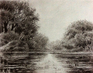 charcoal sketching of a landscape from Bharatpur Bird Sanctuary by Manju Panchal