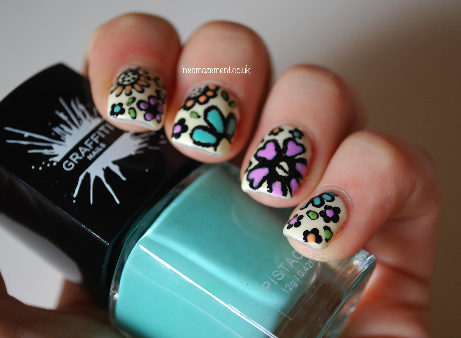 Detailed Floral Nails