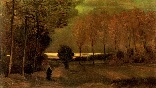 """Autumn Landscape at Dusk"" Vincent Van Gogh (1885) an autumn walk, woman, girl, cloak, fine art, gloaming, dusk, sunset"