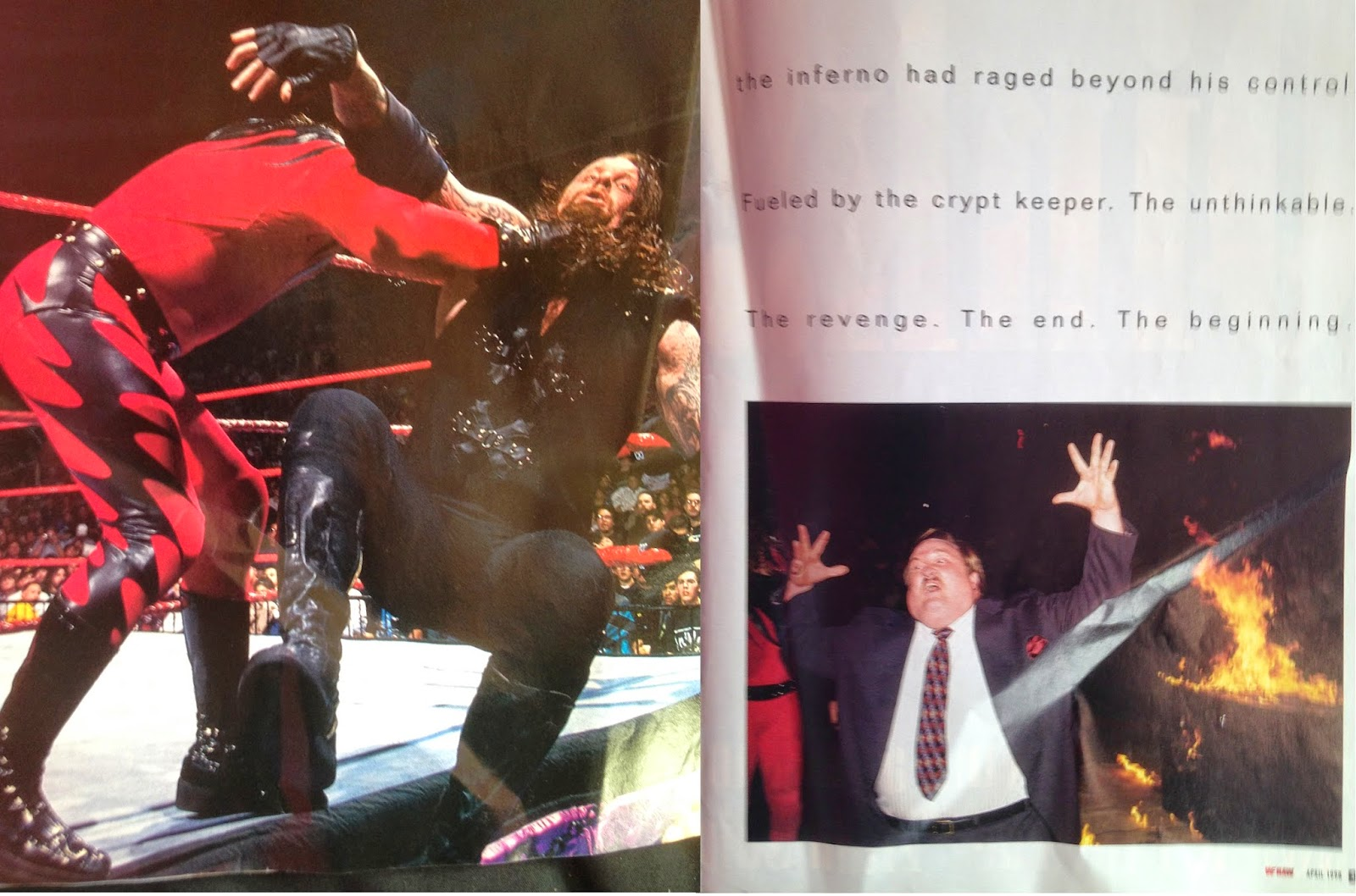 WWE - WWF Raw Magazine - April 1998 -  Kane chokeslams The Undertaker