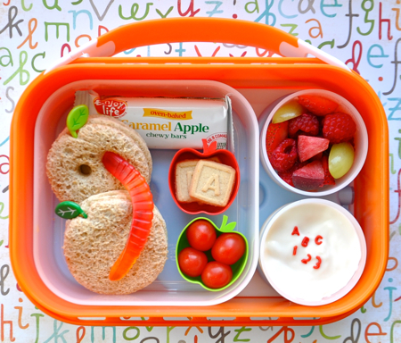 ABC Wormy Apple Back to School Bento Lunch