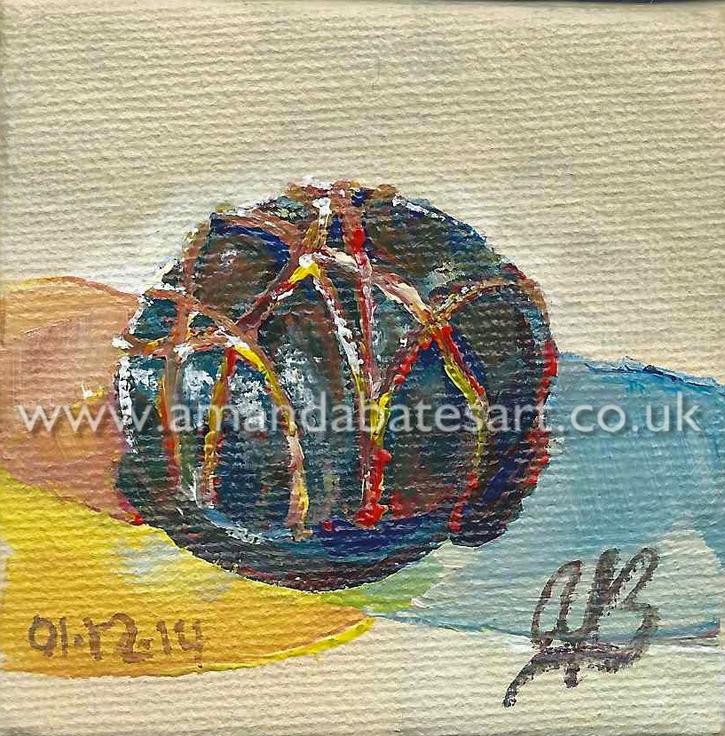 Thornto's Premium Marc de Champagne Truffle, still life painting in acrylic on diddy canvas