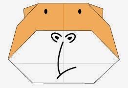 Bước 10: Vẽ mắt, vẽ mũi, miệng để hoàn thành cách gấp con khỉ đột gorilla bằng giấy origami.
