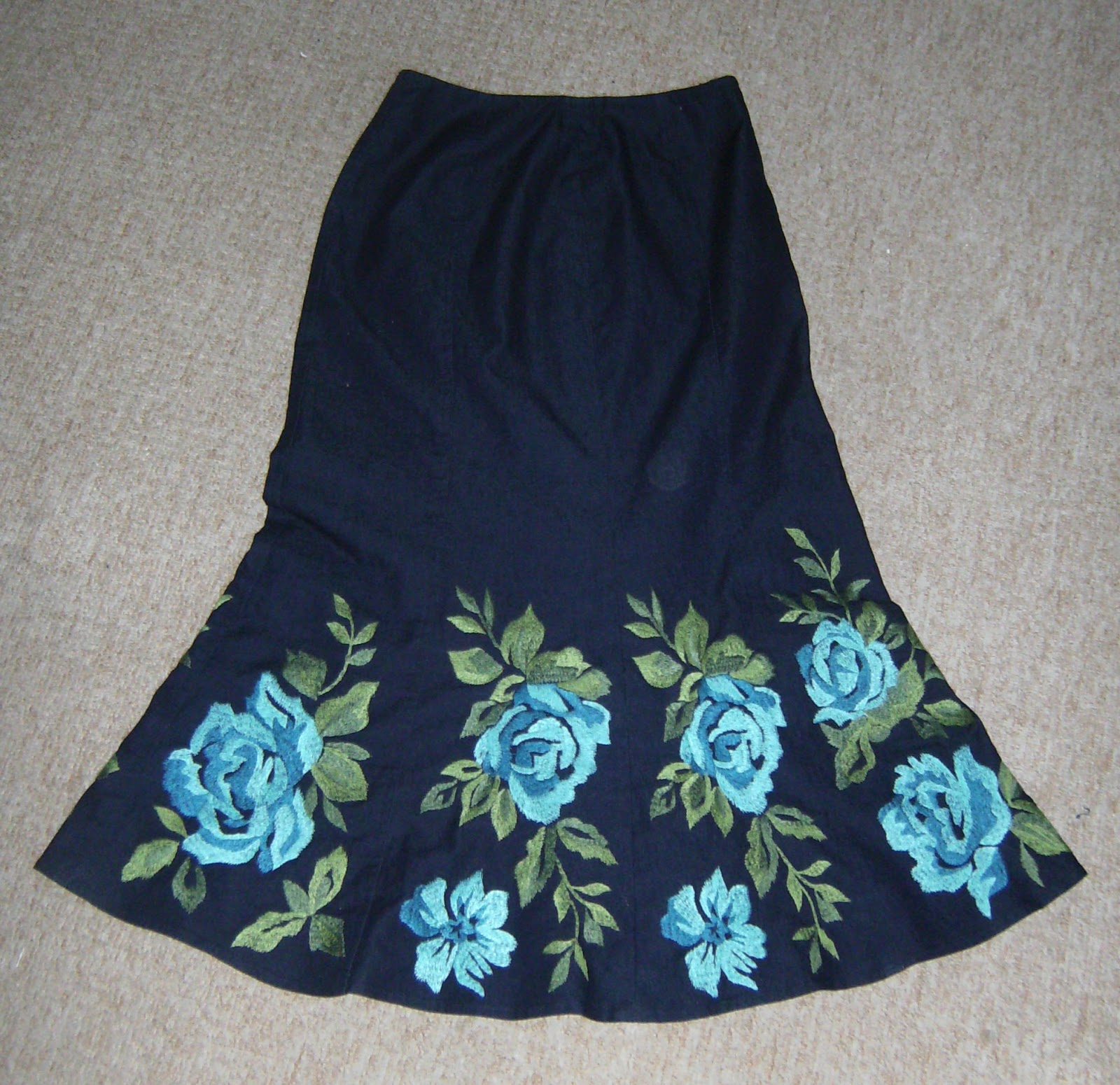 sew selena embroidered denim bag or is it a skirt